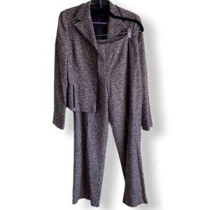 AKRIS PUNTO Silk and Wool Blend Brown Tweed Suit
